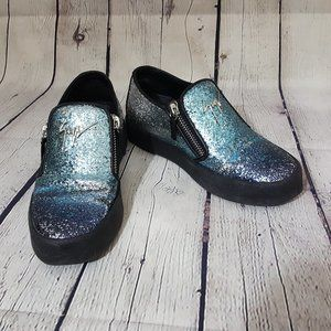 GZ Zanotti Coarse Glitter Zip Platform Sneakers 37